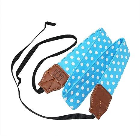 Suave algodón lunares ajustable cámara videocámara hombro correa de cuello cinturón con arnés adaptador se adapta para DSLR Cámara: Amazon.es: Electrónica