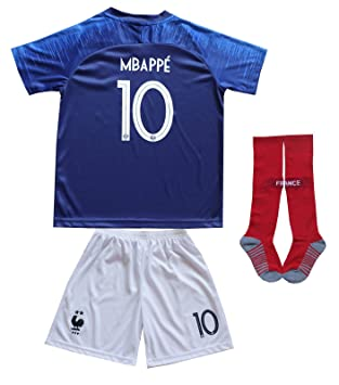 save off 7a80e cae81 2018 France Antoine Griezmann #7 Kylian MBAPPE #10 Home Blue Kids Soccer  Football Jersey Socks Shorts Youth Sizes