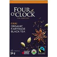 Four O'Clock Organic Fairtrade Chai Black Tea, Non-GMO, Kosher, Gluten-Free, 16 Count, 32g