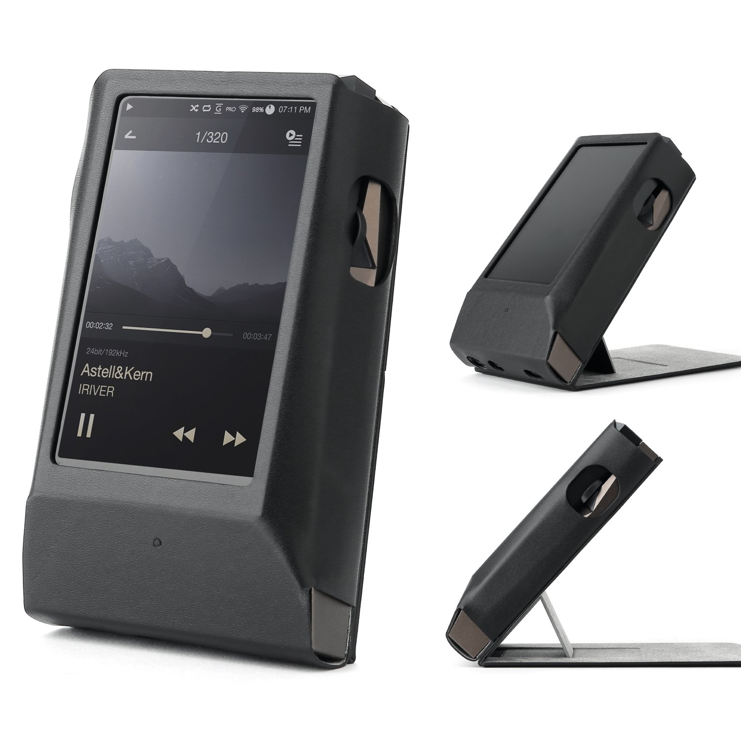 Astell&Kern AK300 AMP / AK320 AMP Hand Crafted MITER Leather Case Cover [Patented Stand Case] astell&Kern Leather case (Black)