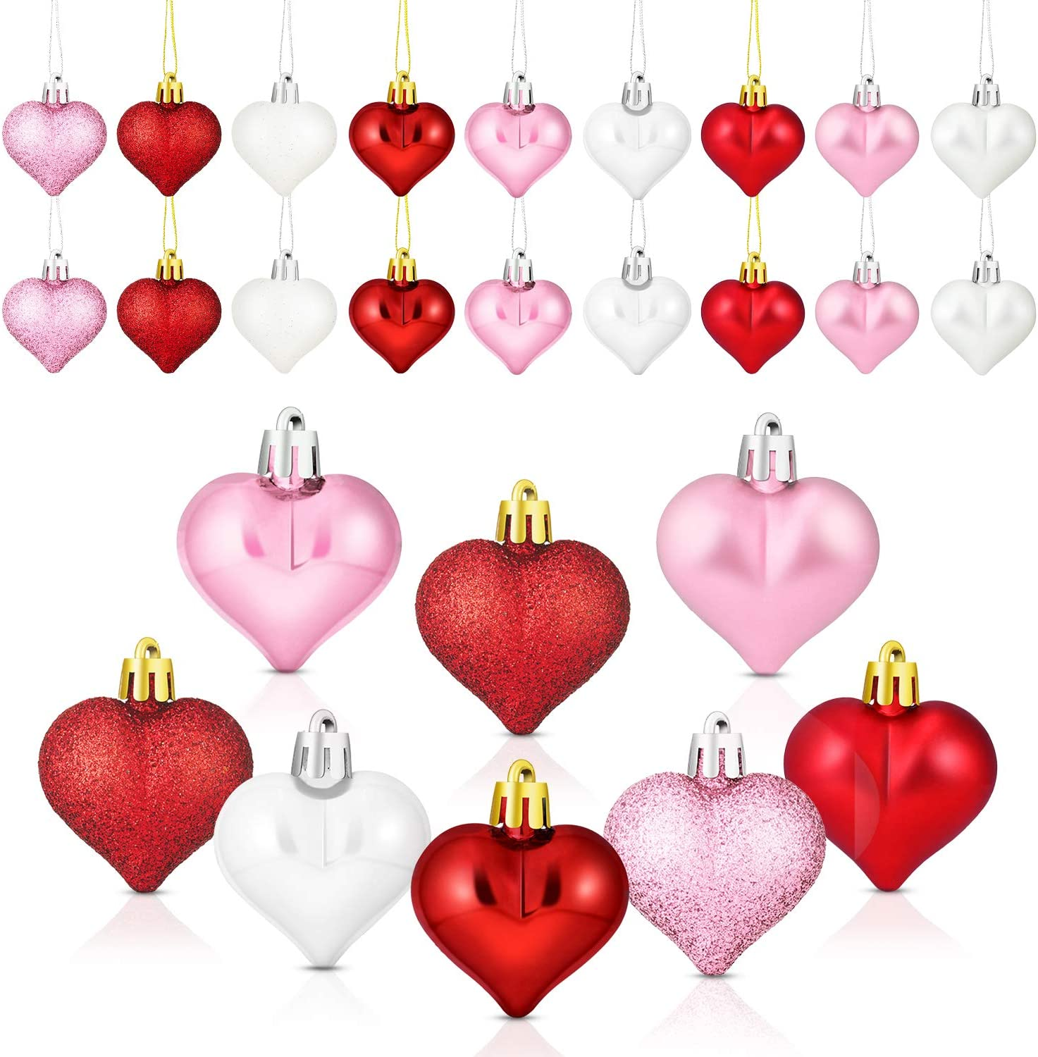 WILLBOND 36 Pieces Glitter Matt Heart Shaped Ornaments Tree Baubles Heart Ornament for Valentine's Day Holidays Decoration, 3 Colors