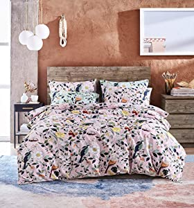 UFO Home 300 Thread Count 100% Cotton Flannel Floral and Leaves Printing 3pc Duvet Cover Set Full/Queen Size (Curme, Queen Size)