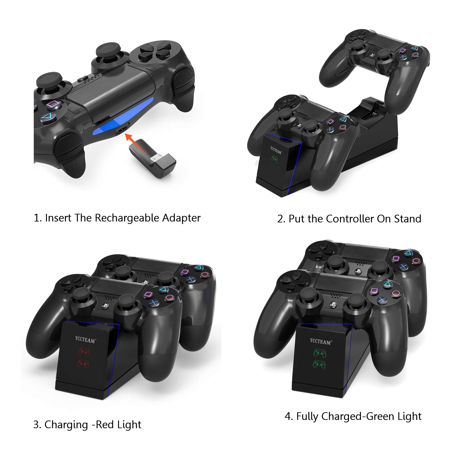 PS4 Controller Charger, DualShock 4 PS4 Controller USB Charging Station Dock, Playstation 4 Charging Station for Sony Playstation4 / PS4 / PS4 Slim / PS4 Pro Controller