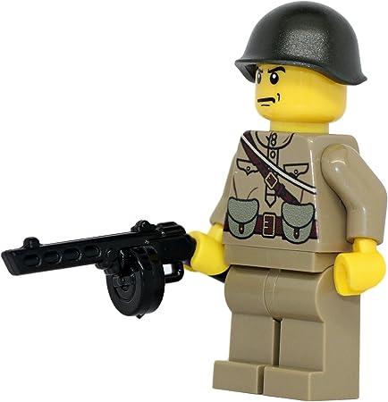 Lego Custom SOVIET INFANTRY Minifigure WWII Soldier W// Guns /& Accessories