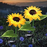 Outdoor Solar Lights, 2 Pack Solar Garden Lights with Bigger Sunflowers, Waterproof Outdoor Lights - Bigger Solar Panel…