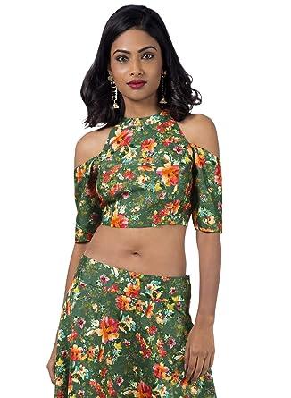 576e3703de88c9 Indya Floral Printed Partywear Tunic Kurti Top Silk Crop Top Women ...