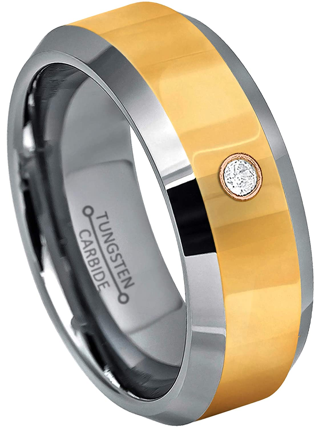 8MM Polished 2-Tone Yellow Gold Plated Comfort Fit Beveled Edge Tungsten Carbide Wedding Band Jewelry Avalanche 0.07ct Diamond Tungsten Ring April Birthstone Ring