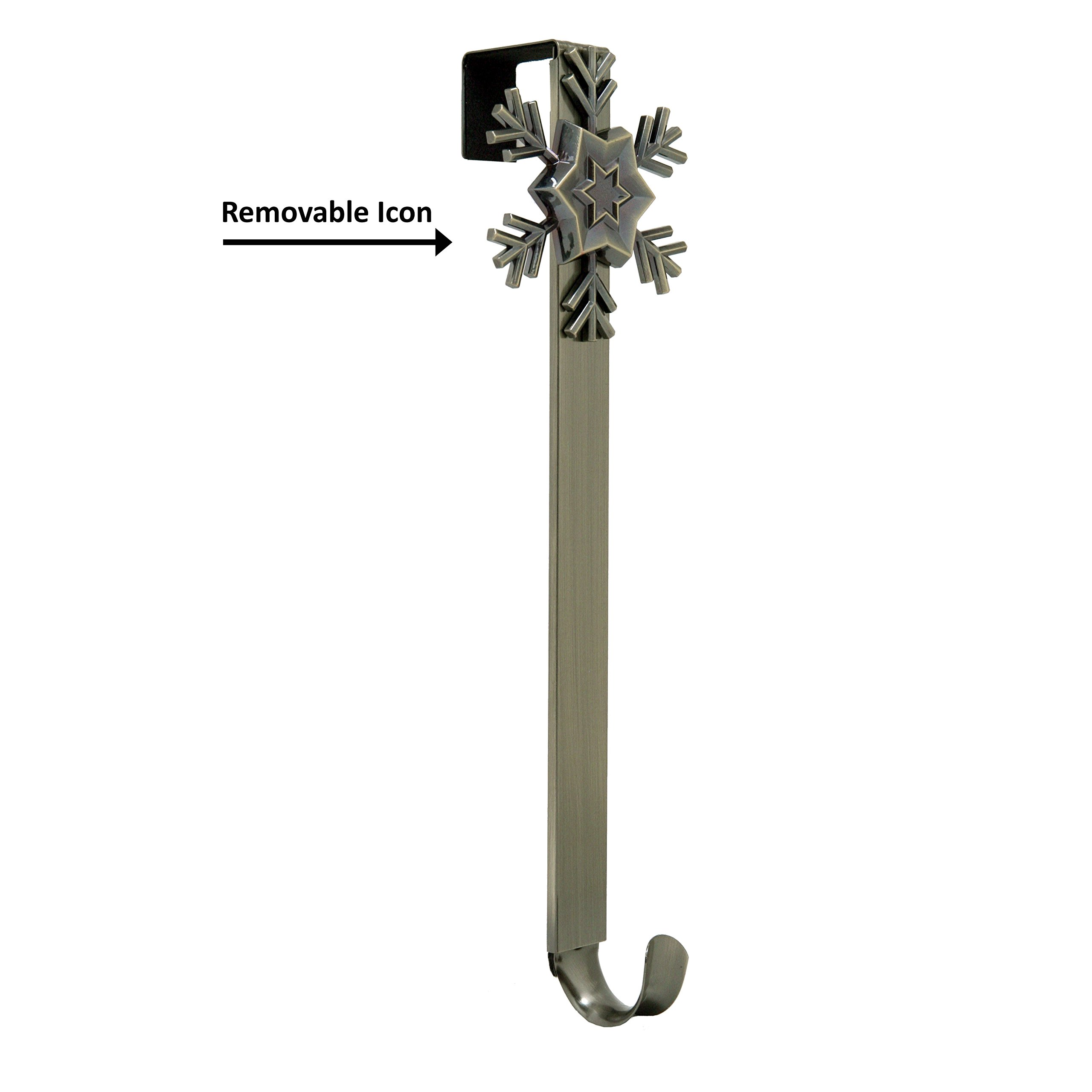 Adjustable Length Wreath Hanger with Removable Icon (Antique Brass - Snowflake)