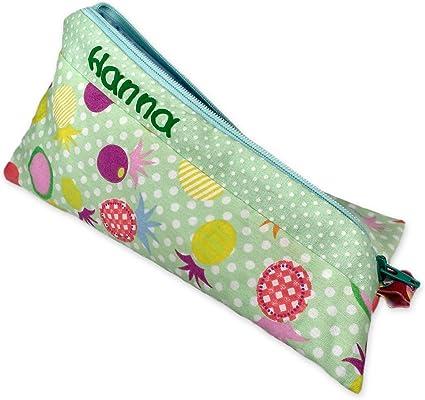 Verde Estuche para niña & niño con nombre, personalizable, 20 x 10 cm, para escolar comienzo, como regalo,, Muelle estuche Nombre: Amazon.es: Oficina y papelería
