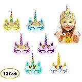 RIOMIO Rainbow Unicorn Paper Masks Kids Birthday Unicorn Party Cosplay Supplies 12 pcs