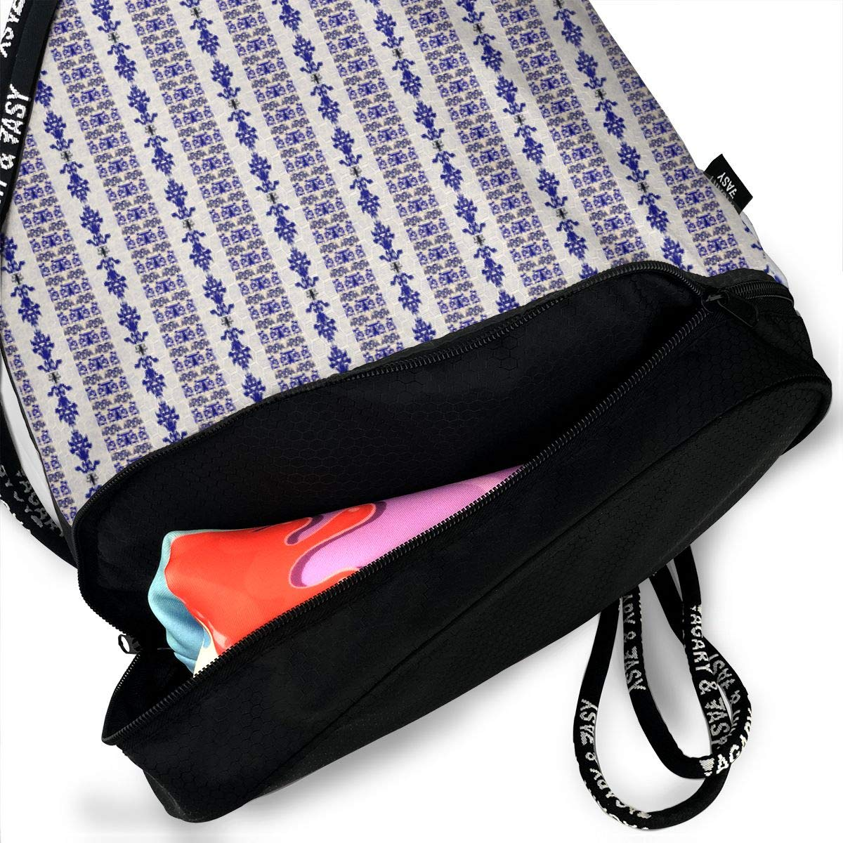 Stacyck Studio Purple Cream Damask Stripes Drawstring Backpack Sports Athletic Gym Cinch Sack String Storage Bags for Hiking Travel Beach