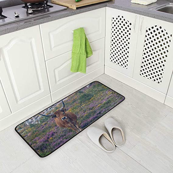 Imagen deBLSYP Kitchen Rugs Runner Animal Cattle Sea Grass Field Comfort Floor Mat Bath Mats Bed Desk Bathroom Area Rug Long Doormat Carpet Home Hotel