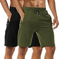 Boyzn Men's 1 or 2 Pack Casual Shorts Comfortable Cotton Workout Shorts Elastic Waist Running Shorts with Zipper Pockets