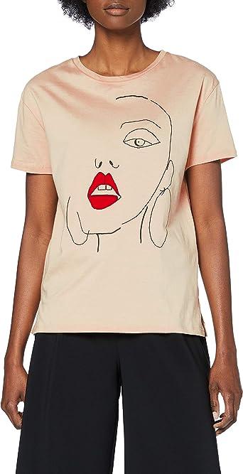 Marca Amazon - find. Face Print Camiseta Mujer