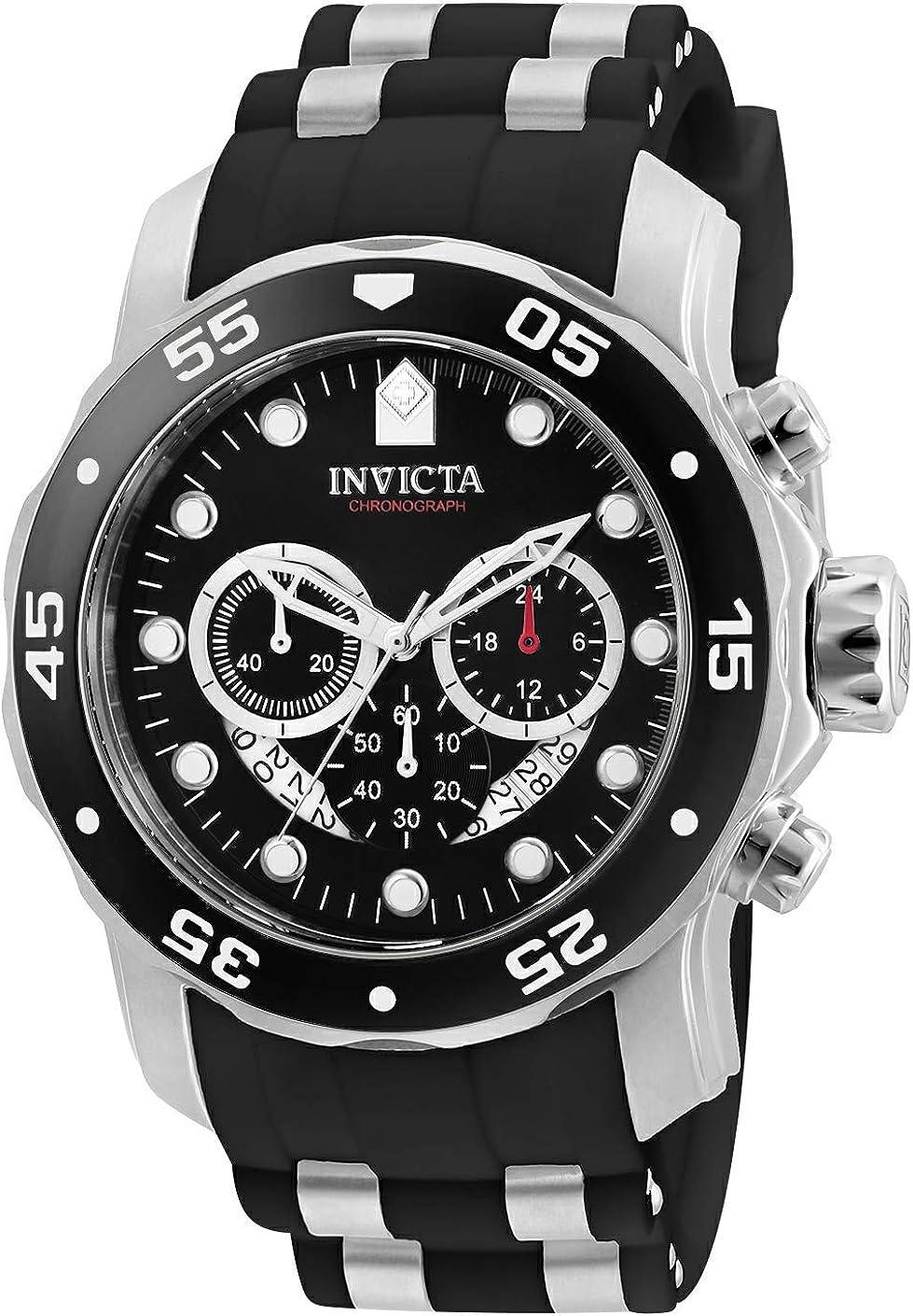 Invicta Men's Pro Diver Scuba 48mm Stainless Steel Quartz Watch with Black Silicone Strap, Black (Model: 6977)