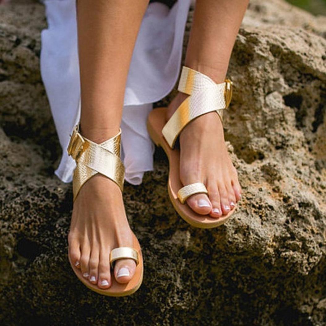 Tsmile Women Sandals Cross Belt Beach Sandals Rome Strappy Gladiator Low Flat Flip Flops