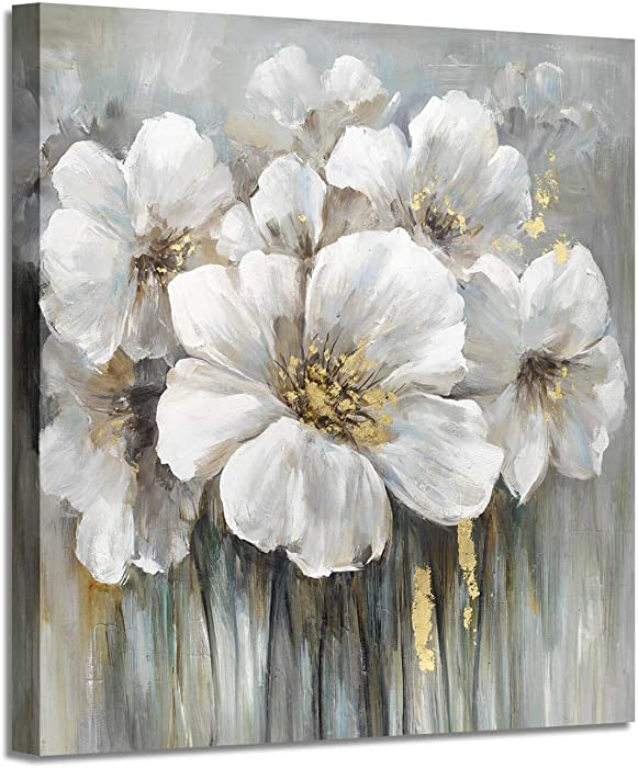 """Wall Art Floral Pictures Artwork: White Lily Oil Painting Botanical Print on Canvas for Bathroom ( 12"""" x 12"""" )"""