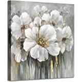 """Wall Art Floral Pictures Artwork: White Lily Oil Painting Botanical Print on Canvas for Bathroom (12""""W x 12""""H,Multi-Sized)"""