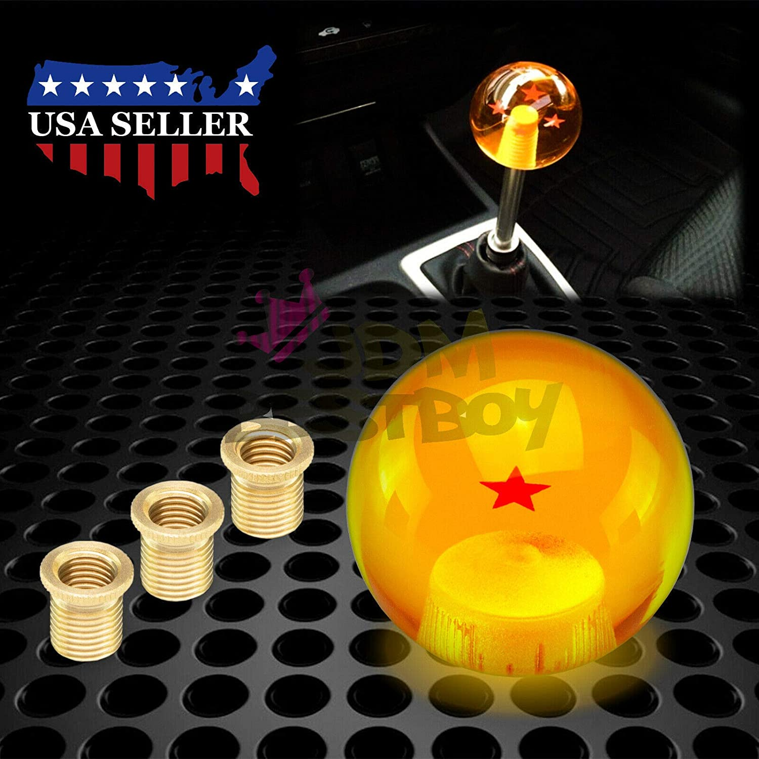 JDMBESTBOY Universal Blue Dragon Ball Z 6 Star 54mm Shift Knob with Adapters Will Fit Most Cars