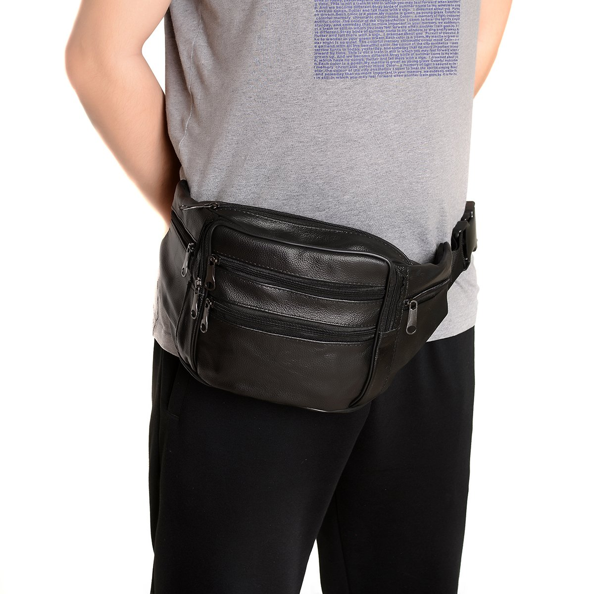 FANNING511 Big Fanny pack.Waist Pack Cowhide Leather Large Size 7 Pockets Fanny Pack Black