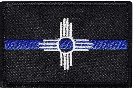 Nueva bandera de México fina línea azul Policía Estado 3.0 x 2.0 gancho parche: Amazon.es: Juguetes y juegos