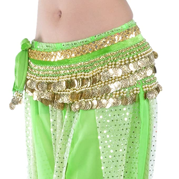 "d66ee5cdd Women's Shiny Tribal Indian Velvet 58.5"" Belly Dance Hip Scarf Belt  Halloween Christmas Gift("
