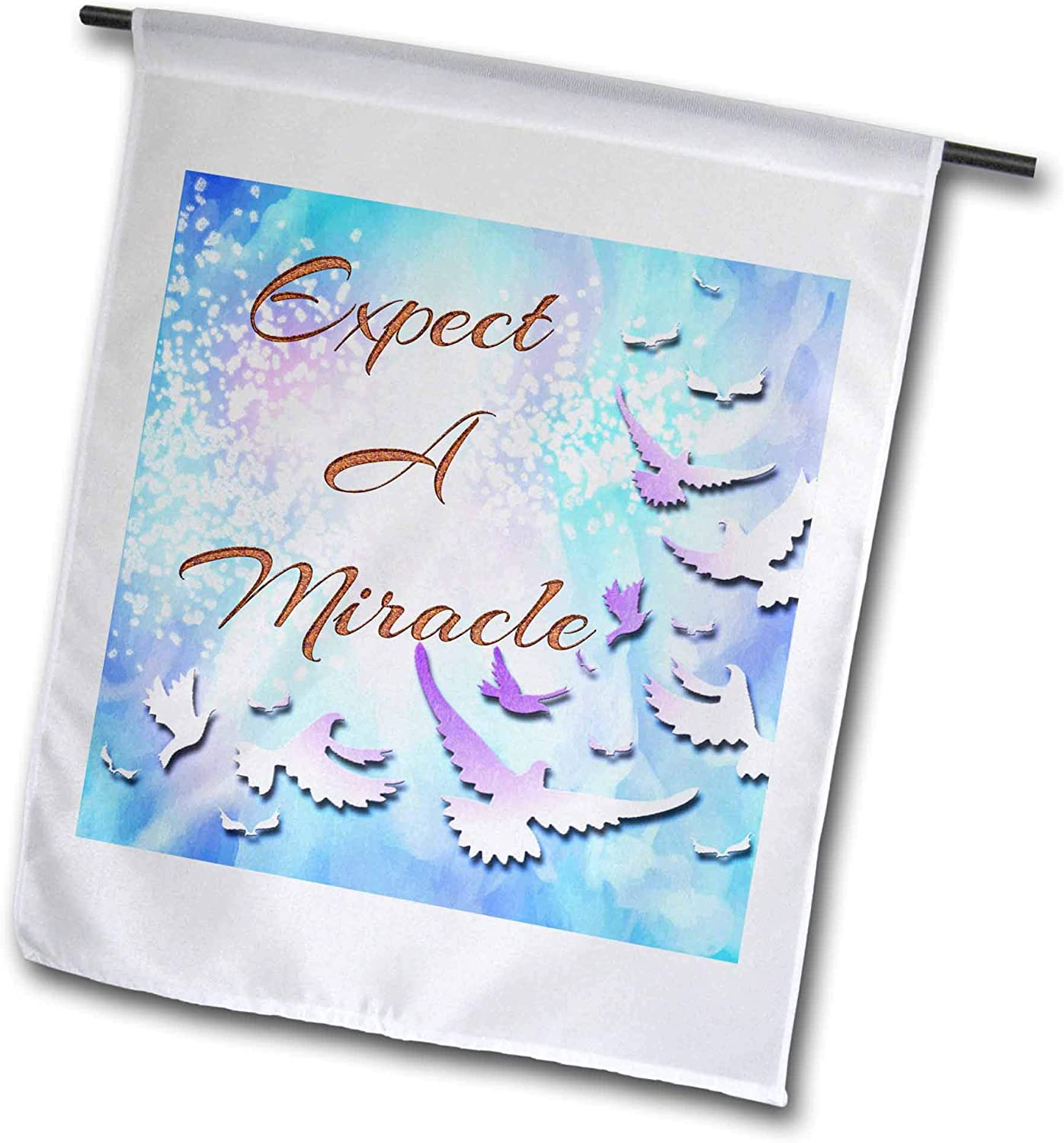 3dRose Spiritual Awakening Spiritual - Expect a Miracle with White Doves, and Gradient Blue Background - 12 x 18 inch Garden Flag (fl_303844_1)