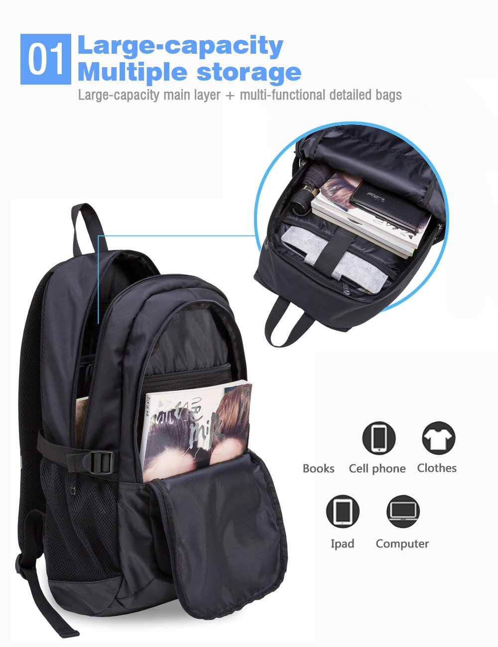 Laptop Backpack, Semir Anti Theft Water Resistant College School Backpack,Travel Computer Bag for Women Men,Business Backpack Fits Under 17.3-Inch Laptop and Notebook (Original Black)