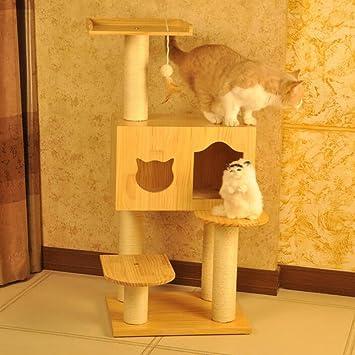 LDFN Madera Maciza Escalada De Gatos Marco Arena para Gatos Gato Arañando Cat Jump Cat Villa Sisal Escalada Cat Toys,B: Amazon.es: Hogar