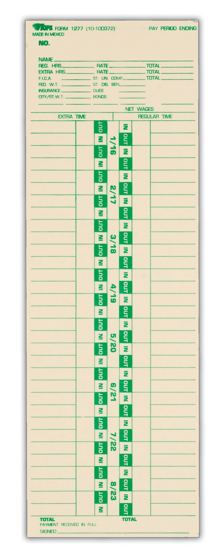TOPS Time Cards, Semi-Monthly, 2-Sided, 3-1/2'' x 10-1/2'', Manila, Green/Red Print, 500-Count (1277)