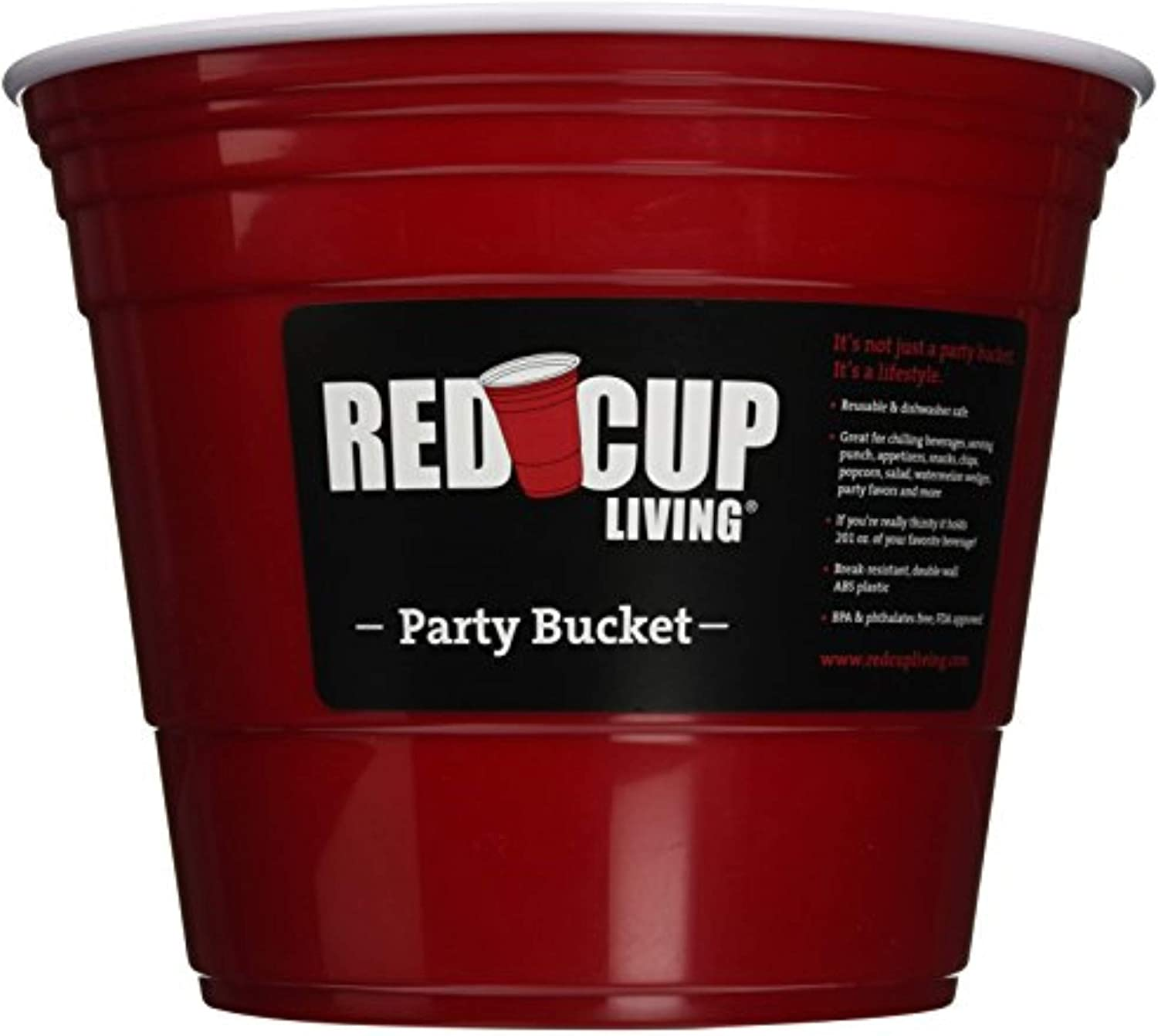 Red Cup Living Reusable Party Bucket, 10 x 8 inches – Party Ice Bucket, Beer Bottle Drink Cooler, Party Beverage Chiller Bin - Ice Bucket Holder.