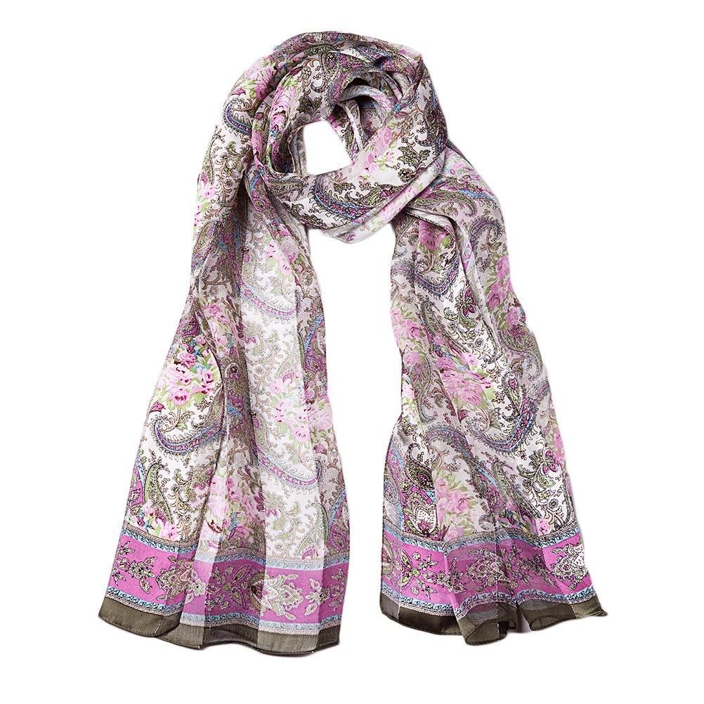 EcoWonder シルクスカーフ シルク100% レディース 冷房対策 大判 180*110cm B01911YCSE ピンク ピンク