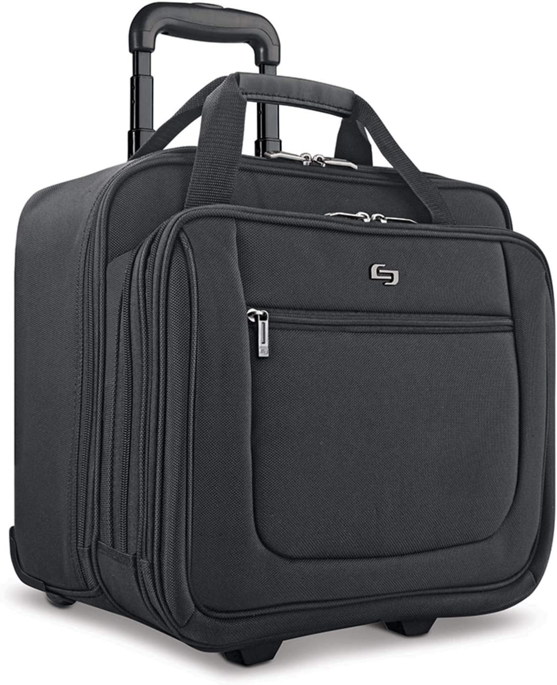 Solo New York Macdougal Rolling Laptop Bag Fits up to 17.3 inch laptop Black Rolling Briefcase for Women and Men