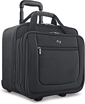 "Solo New York Bryant Rolling Laptop Bag, Black, 14"" x 16.8"" x 5"""