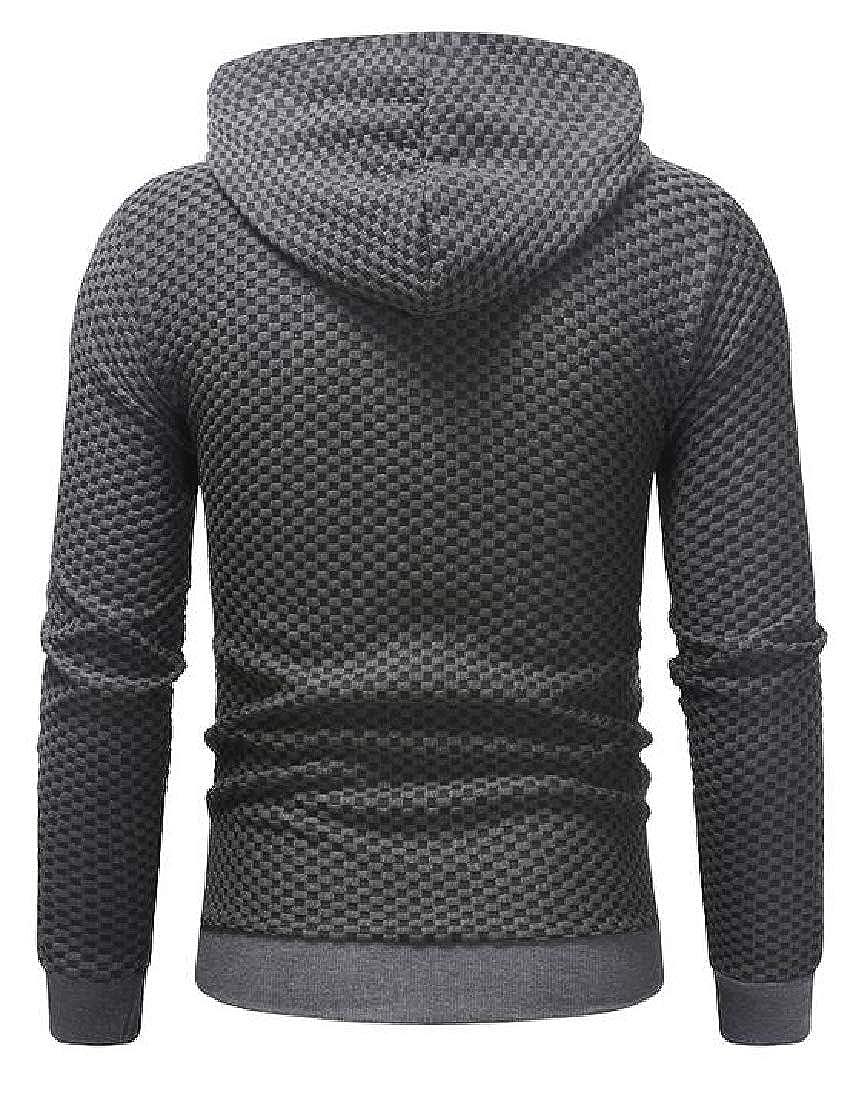 Etecredpow Mens Long-Sleeve Plaid Coat Zipper Up Sweatshirt Jacket Hoodies