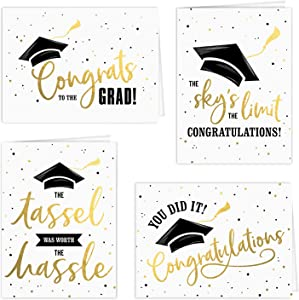 Graduation Card Assortment/Set of 12 Cards With White Envelopes/Four Black And Faux Gold Designs