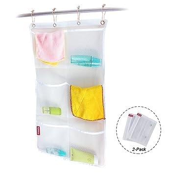 Honla 2 Pack Hanging Mesh Bath Shower Caddy Organizer With 6 Clear Storage  Pocketsu0026Large Grommets