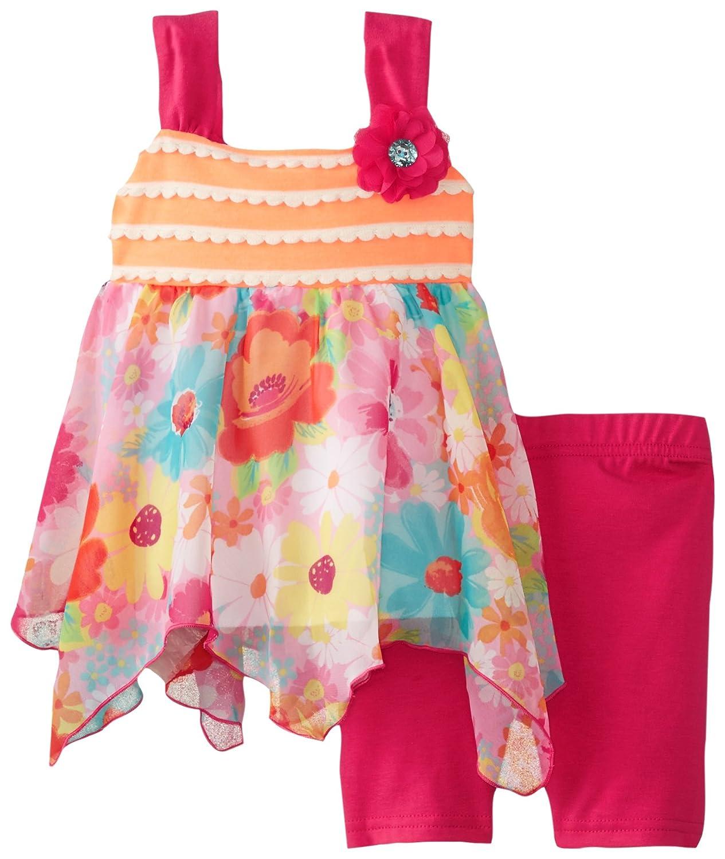 Youngland Baby Girls Knit To Chiffon Tunic with Bike Short