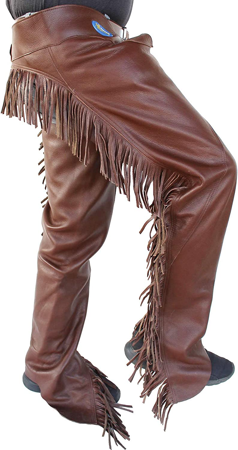 Professional Equine M Horse Western Cowboy Smooth Brown Leather Cutting Chaps w//Fringe 924F04BR