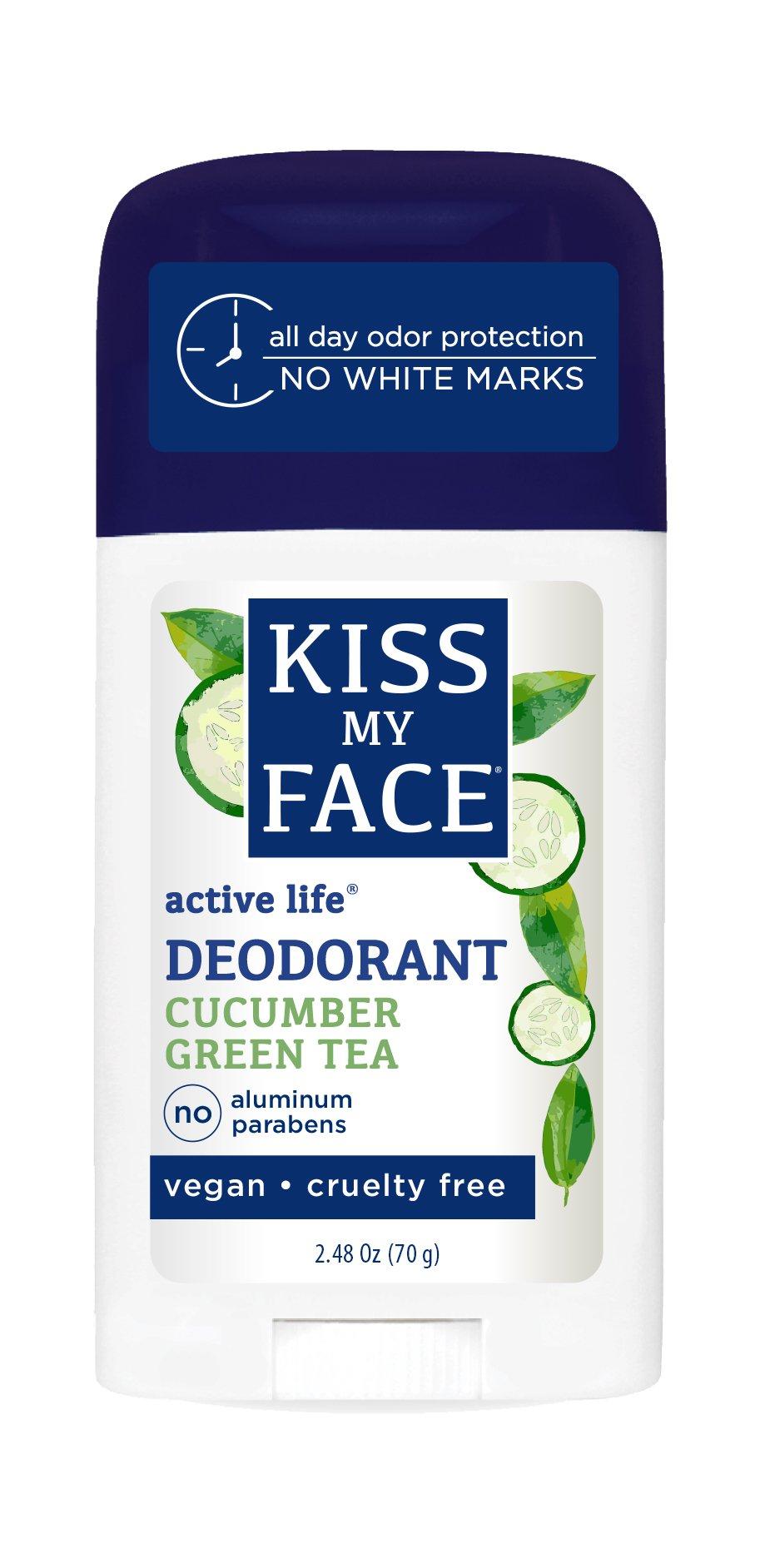 Kiss My Face Active Life Aluminum CHLOROHYDRATE Free Deodorant, Cucumber Green Tea, 2.48 Ounce Stick