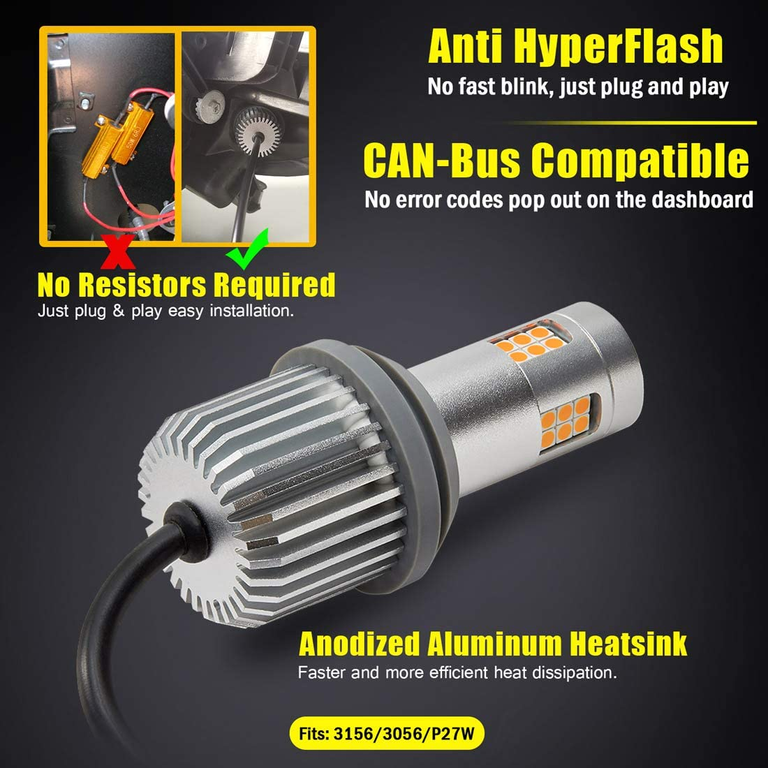 Anti Hyper Flash and CANBUS Ready Error Free ENDPAGE 3156 3056 3156K P27W Built-in Load Resistor LED Turn Signal Light Bulbs Pack of 2 25W High Power 1000LM Extremely Bright Amber Yellow