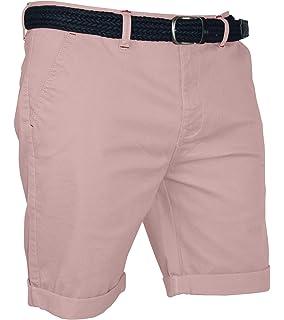 d5a0b9dad422 Herren Chino Shorts Bermuda Kurze Hose Gürtel Stretch-Baumwolle Slim Fit