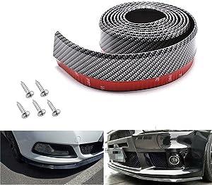Bigetaige Universal Front Bumper Spoiler, 8.2ft/250cm Universal Carbon Fiber Front Bumper Lip Strip Splitter Spoiler