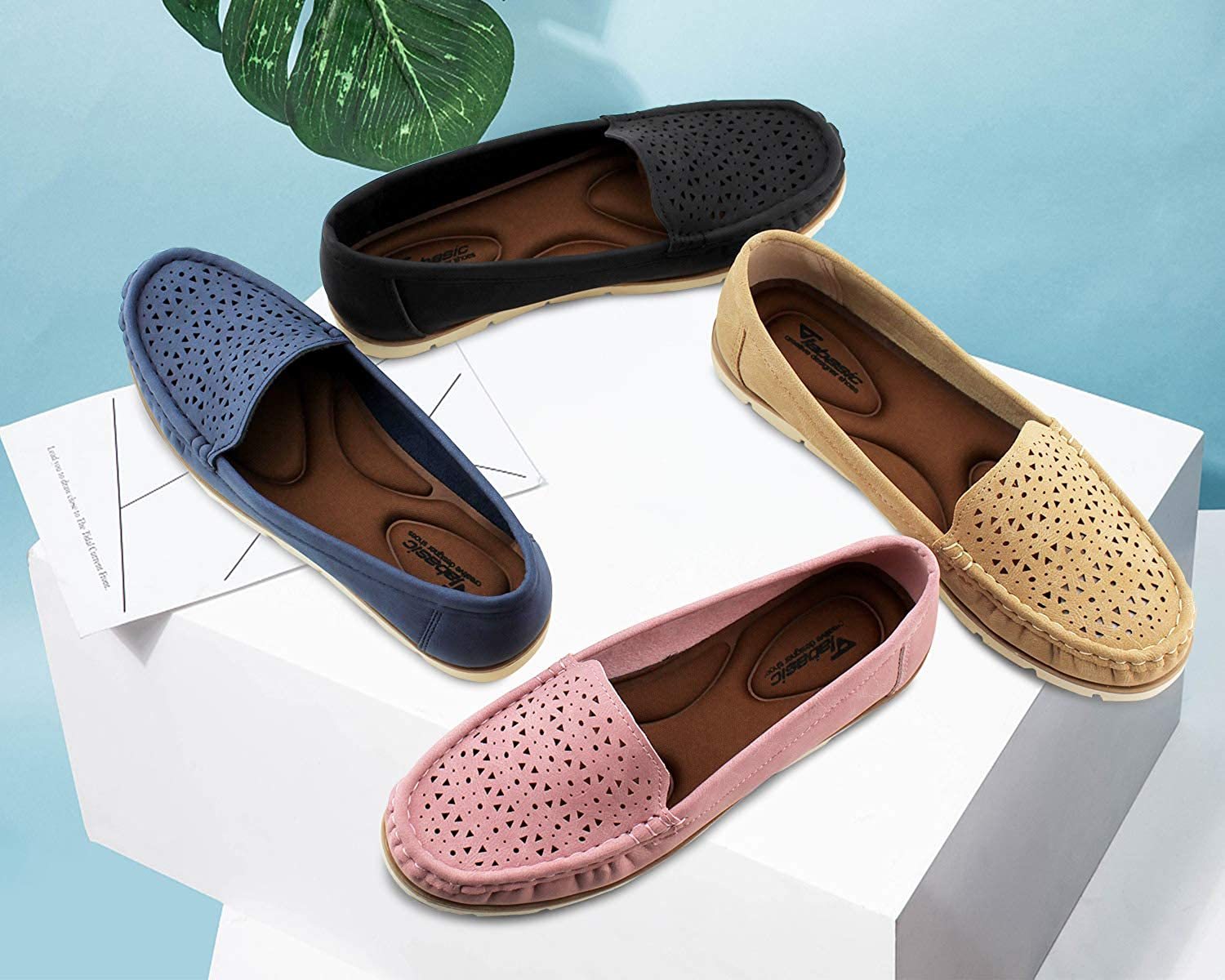 ANBOVER Womens Flat Loafers Casual Leather Driving Slip on Shoes