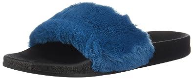 bf6a8ddd0991 Montego Bay Club Dark Blue Faux Fur Women s Wallis Pool Slide 5 Regular