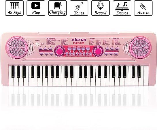 JINRUCHE RecargableTeclado Electrónico Piano 49 Teclas, Teclado de Piano Portátil con Micrófono Teclado Portátil Regalo para Niño, Niña Principiantes ...