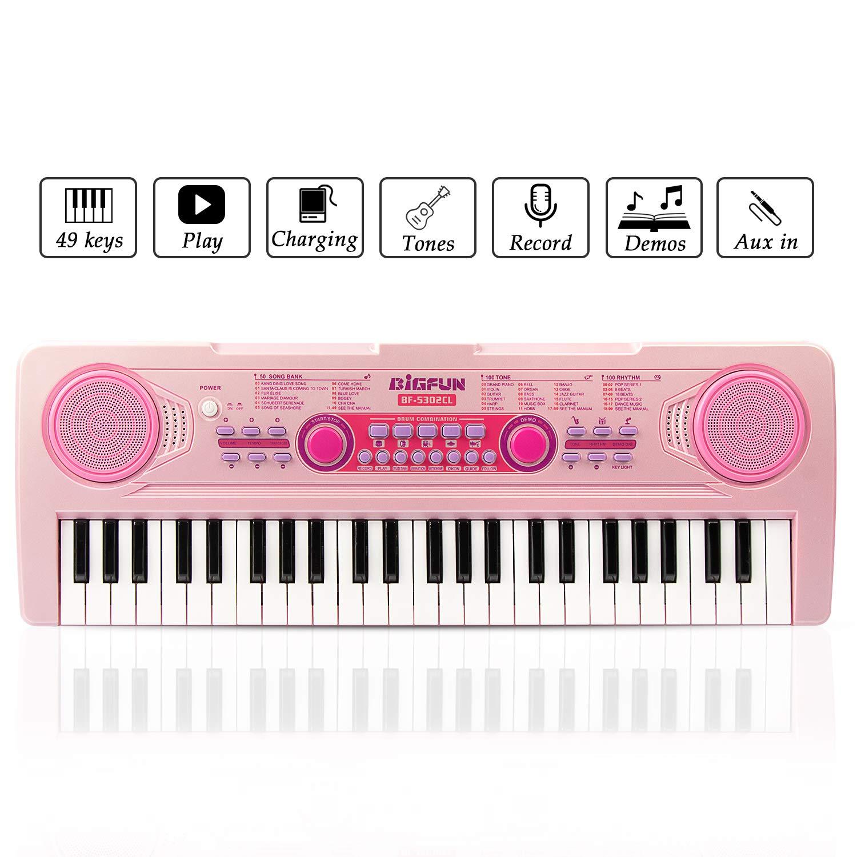 Teclado Cargable Piano, JINRUCHE 49 Teclas Multifunción Carga Electrónica Piano Educativo para Estudiantes Niños con Micrófono, rosa: Amazon.es: ...