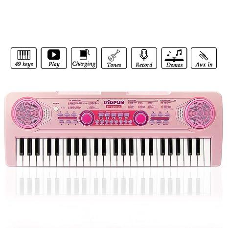 Teclado Cargable Piano, JINRUCHE 49 Teclas Multifunción Carga Electrónica Piano Educativo para Estudiantes Niños con