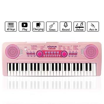 JINRUCHE RecargableTeclado Electrónico Piano 49 Teclas, Teclado de ...