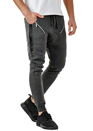 78514fc8f3e5c0 EightyFive Herren Jogginghose Zipper mit Seitentaschen Cargo Schwarz Weiß  Grau EF305, Größe:XS,